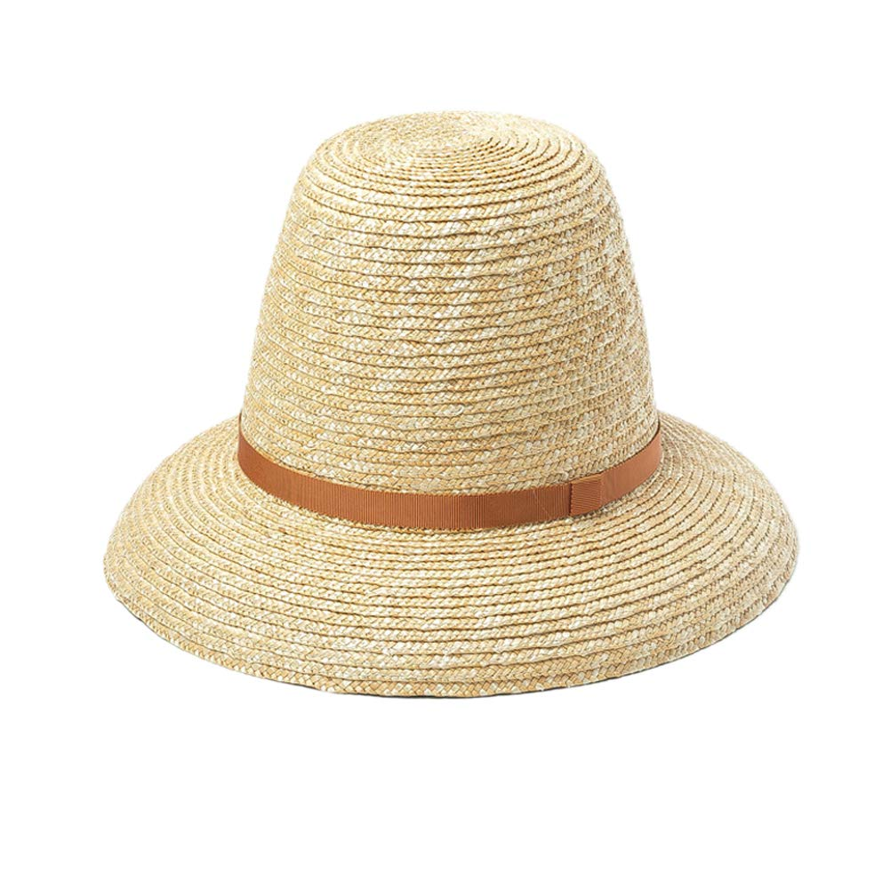 Fine Wheat Straw Cloche, Natural Bucket, Summer Sun Hat for Women, High Crown Bell Shape Hat (Amber Trim)