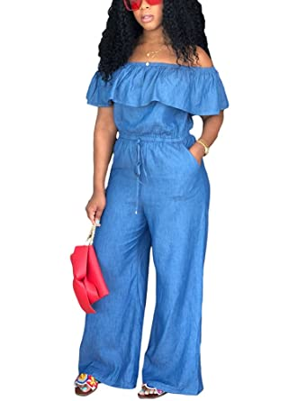 513ef7c5f466 Amazon.com  Women s Sexy Off Shoulder Ruffle Denim Jumpsuit Drawstring Wide  Leg Long Romper Small Blue  Clothing