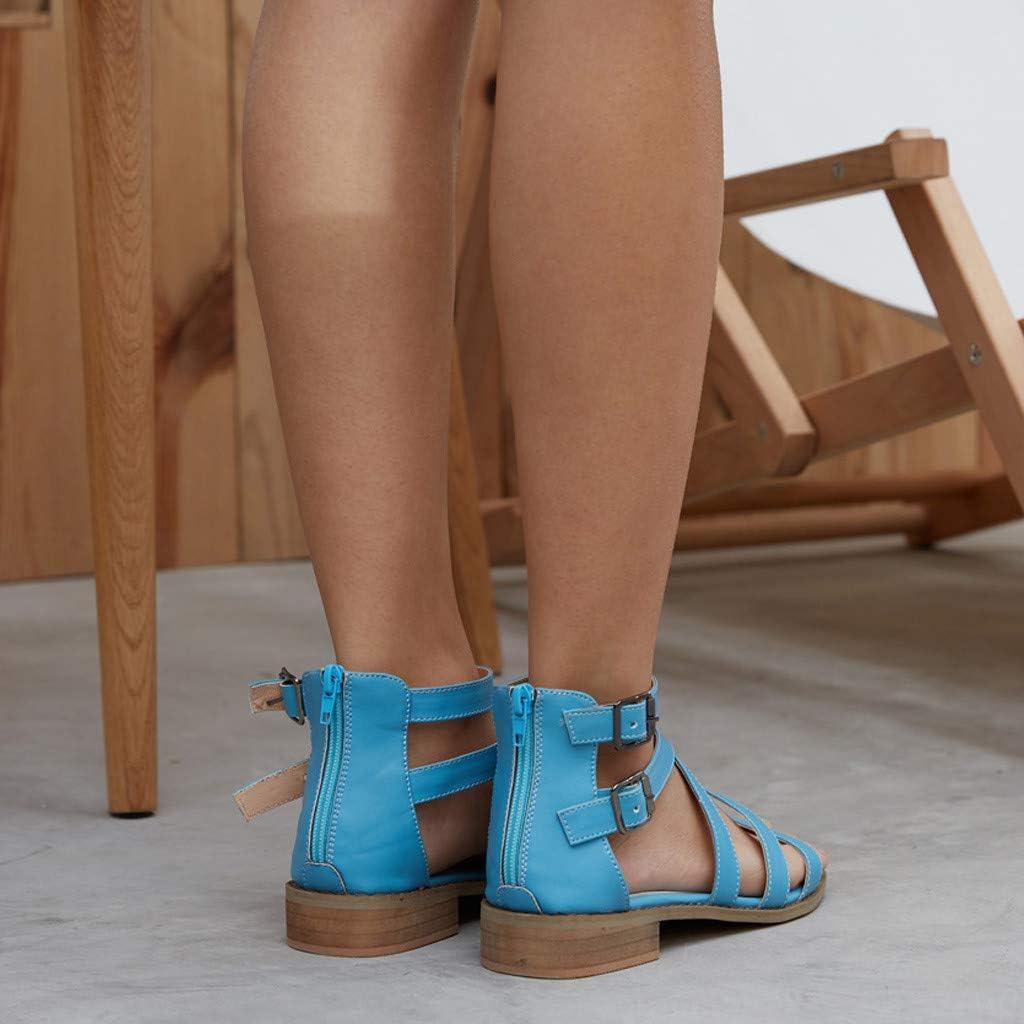 REYO Womens Fashion Low Heel Pump Sandals Buckle Strap Ankle Square Heel Beach Open Toe Ladies Shoes