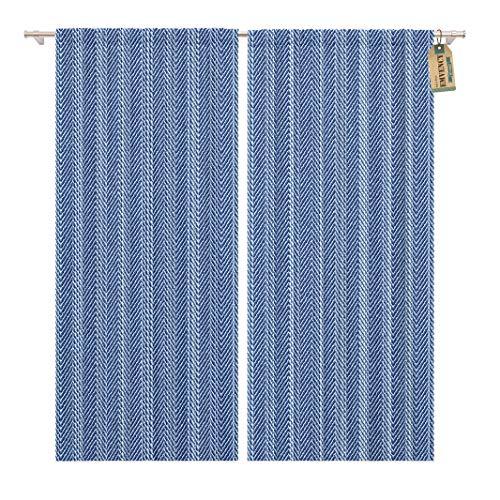 Golee Window Curtain Pattern Abstract Subtle Washed Blue Denim Herringbone Stripe Indigo Home Decor Rod Pocket Drapes 2 Panels Curtain 104 x 84 inches