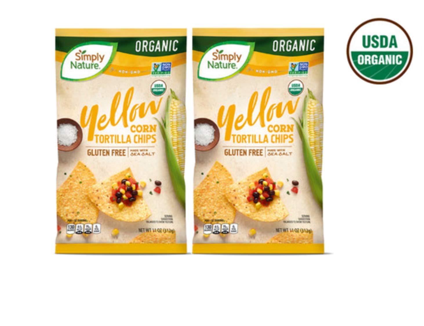 Simply Nature USDA Organic Gluten-Free Yellow Corn Tortilla Chips Made with Sea Salt - 11 oz. (2 Bags)