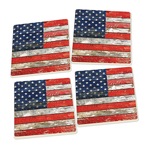 P. Graham Dunn American Flag Distressed Wood Look Set of 4 Ceramic Coaster Pack