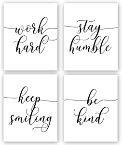"""HPNIUB Unframed Inspirational Quote Art Painting,Work Hard,Be Kind,Stay Humble,Keep Smiling Art Print Set of 4 (12""""X16"""" Motivational Phrases Wall Art for Office or Living Room Home Decor,No Frame"""