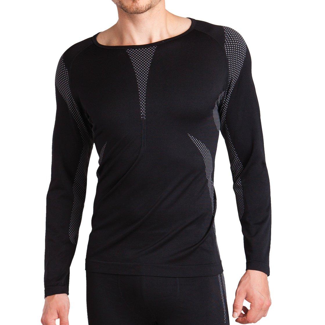 Sport Funktionswäsche Herren Langarm Hemd Seamless von celodoro - Ski-, Thermo- & Funktionsshirt ohne störende Nähte mit Elasthan in versch. Farben