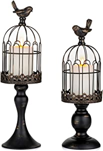 Sziqiqi Vintage Bird Cage Lantern Set of 2 Decorative Pedestal Candle Holders for Pillar Candle for Tabletop Wedding Centerpiece Fireplace Mantel Decor Distressed Black