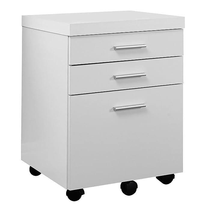 Amazon.com: Monarch Specialties White Hollow Core 3 Drawer File Cabinet On  Castors: Kitchen U0026 Dining