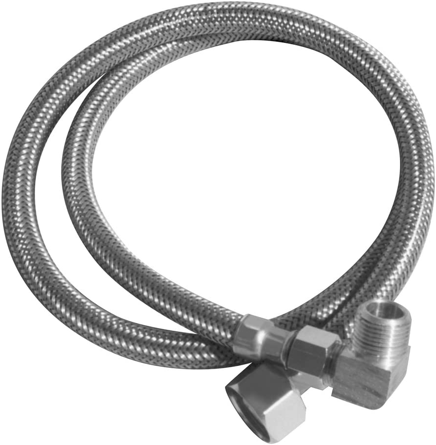 LSP KDW-572-PP Dishwasher Supply Line, Ss Braid Pvc 3/8-Inch Cone by 90 Deg 3/4-Inch Ght, 72-Inch Long by 5/16-Inch