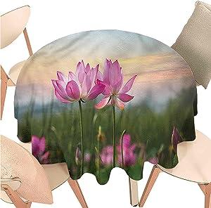Iuvolux Circular Table Cloths Lotus, Blooms Zen Garden,Indoor Outdoor Spillproof Tablecloth Table Cover for Spring Summer Patio Garden Tabletop Decor Diameter 54 inch