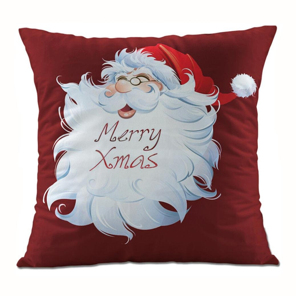 Clearance!Super Soft Fabric Square Christmas Santa Claus Throw Cushion Cover,Sofa Waist Home Decor Pillow Case (N)