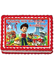 Paw Patrol Personalized Edible Cake Topper Image -- 1/4 Sheet