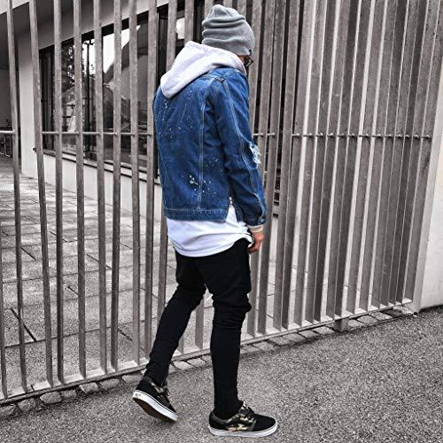 Boutonné Un Pour Chapeau Déchiré Avec En Jean Veste À Bleu Manteau Capuche Détruit Hommes wZ84PI