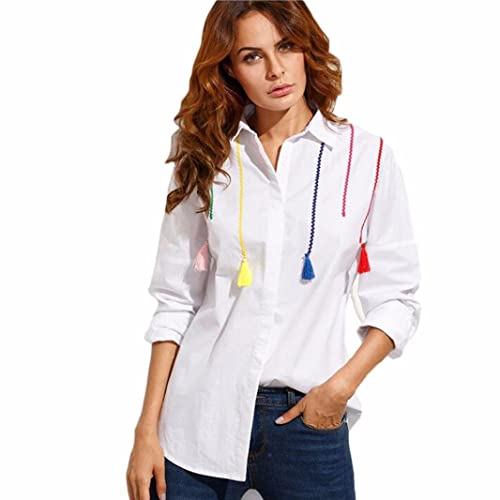 DOLDOA Mujer de manga larga de algodón Tops borla de color pendiente blusa camisa