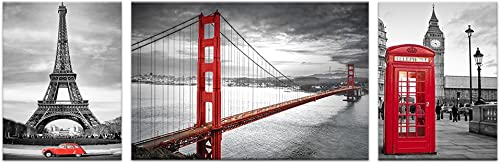 Visual Art Decor W-96 x H-32 Black and White Wall Decor Prints Living Room San Francisco Golden Gate Bridge Eiffel Tower London Booth Picture Framed Canvas Wall Art XXLarge