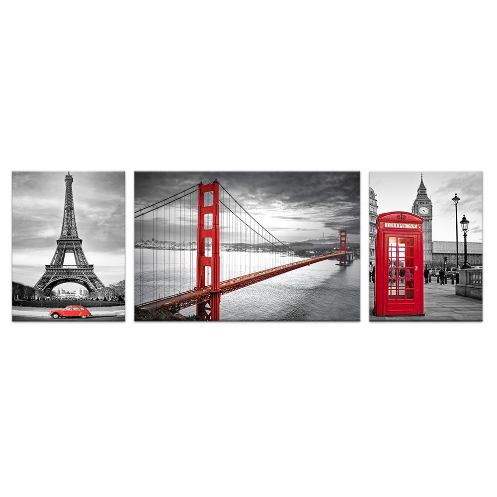 Black White Red Image Wall Decor Prints Living Room San Francisco Golden Gate Bridge Eiffel Tower London Booth Picture Framed Wall Art (Large)