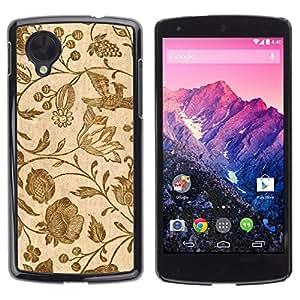 PC/Aluminum Funda Carcasa protectora para LG Google Nexus 5 D820 D821 Wallpaper Vintage Retro Floral Blooms Brown / JUSTGO PHONE PROTECTOR