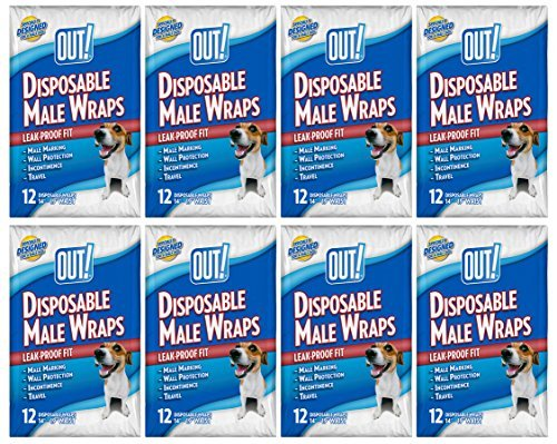 OUT! Disposable Male Dog Diapers | Ultra-Absorbent, Leak-Proof Disposable Wraps | 8 Packs (96 Total Diapers)