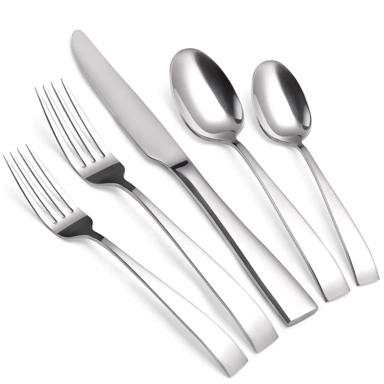 SHARECOOK Silverware Set, 20-Piece Stainless Steel Flatware Set, Kitchen Utensil Set Service for 4, Mirror Polishing Tableware Cutlery Set for Home and Restaurant, Dishwasher Safe…