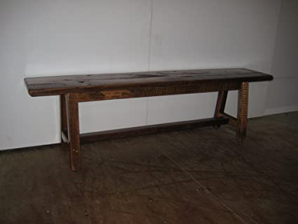 Attractive Rustic Barn Wood 6 Foot Dining Bench   Amish Made In The USA  Clear Varnish