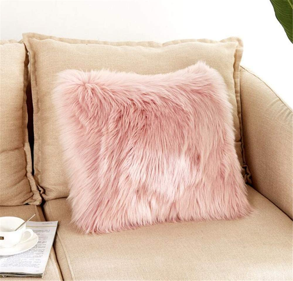 Luxury Long Faux Fur Throw Pillow Case Super Soft Plush Cushion Cover Deluxe Home Sofa Bed Car Party Decorative 18 x 18 Inch Pink