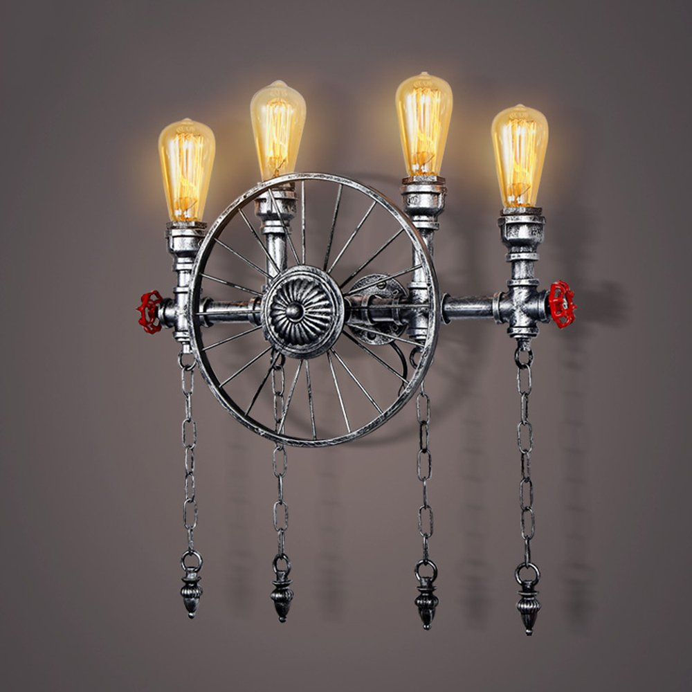 Retro wall lamp Water pipe wall lamp Wheel lamp Industrial wall lamp Iron wall lamp Bedroom Restaurant Bar corridor balcony Basement Garage Height 22.1 Inch (bronze / silver) ( Color : Silver )