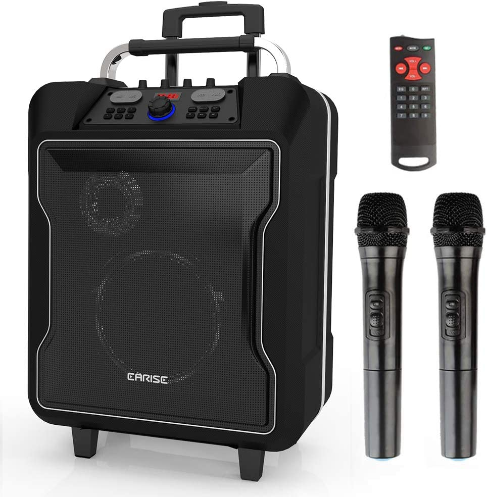 """EARISE M60 Portable PA System Bluetooth Loudspeaker with 2 Wireless Microphone,10"""" Subwoofer, Remote Control, Aux Input, Soft Metal, LED Display, Telescoping Handle, USB Charging & Wheels, Black"""