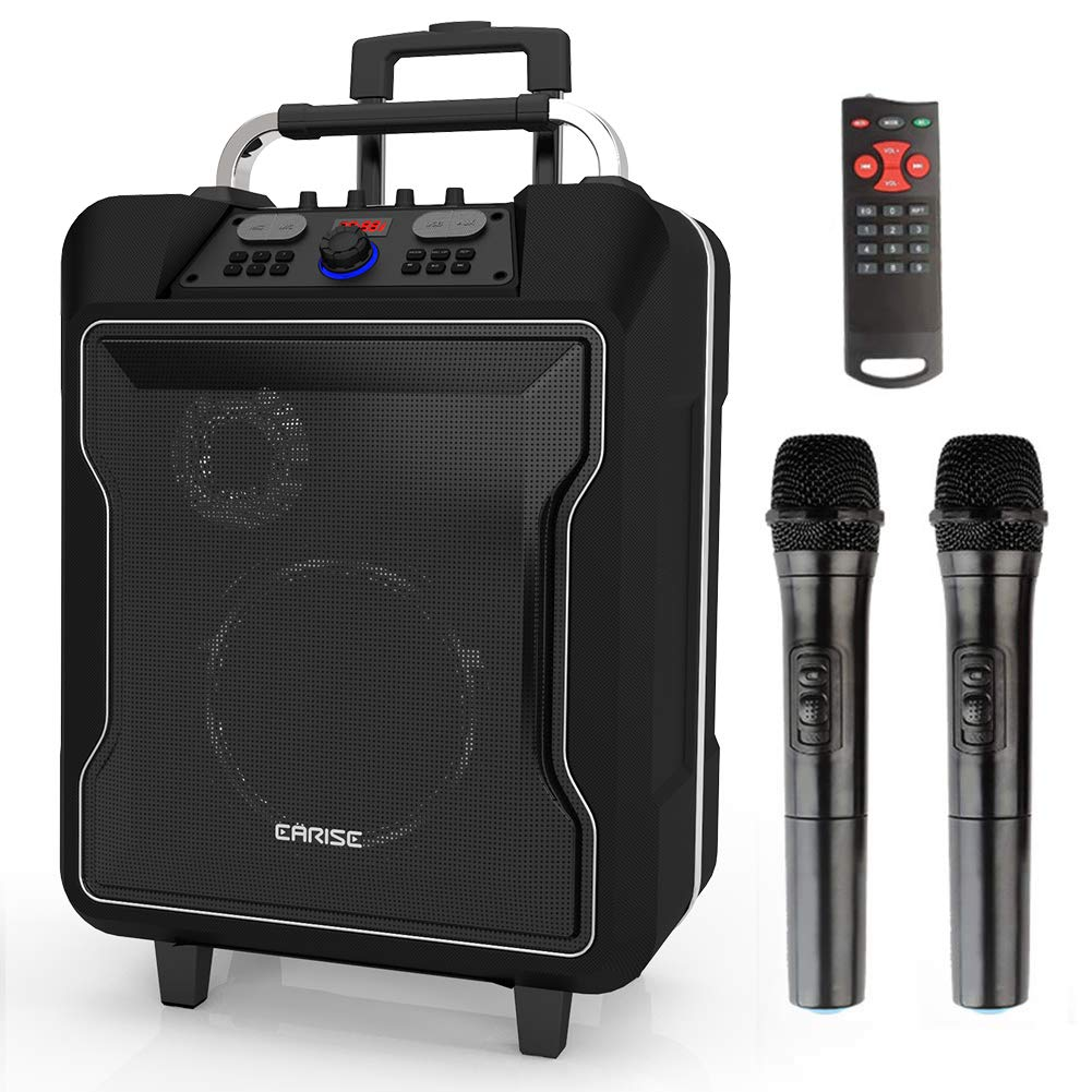 EARISE M60 Portable PA System Bluetooth Loudspeaker with 2 Wireless Microphone,10'' Subwoofer, Remote Control, Aux Input, Soft Metal, LED Display, Telescoping Handle, USB Charging & Wheels, Black