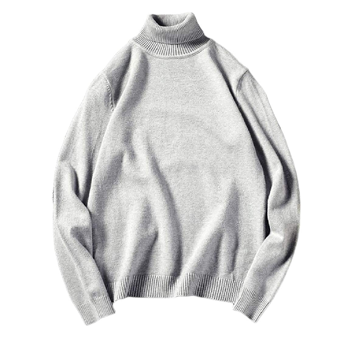 YUNY Mens Solid Plus-Size Warm Knit Ribbed Slim Fit Sweater Pullover Light Grey 4XL