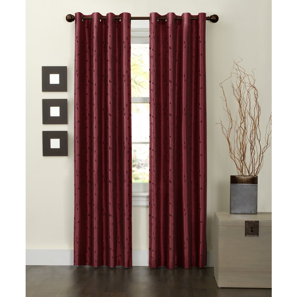 Maytex Mills Jardin Embroidered Thermal Window Curtain, Burgundy