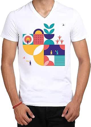 MEC Bauhaus Design T-Shirt White V-Neck Medium Size MEC MT-BaD1 For Men