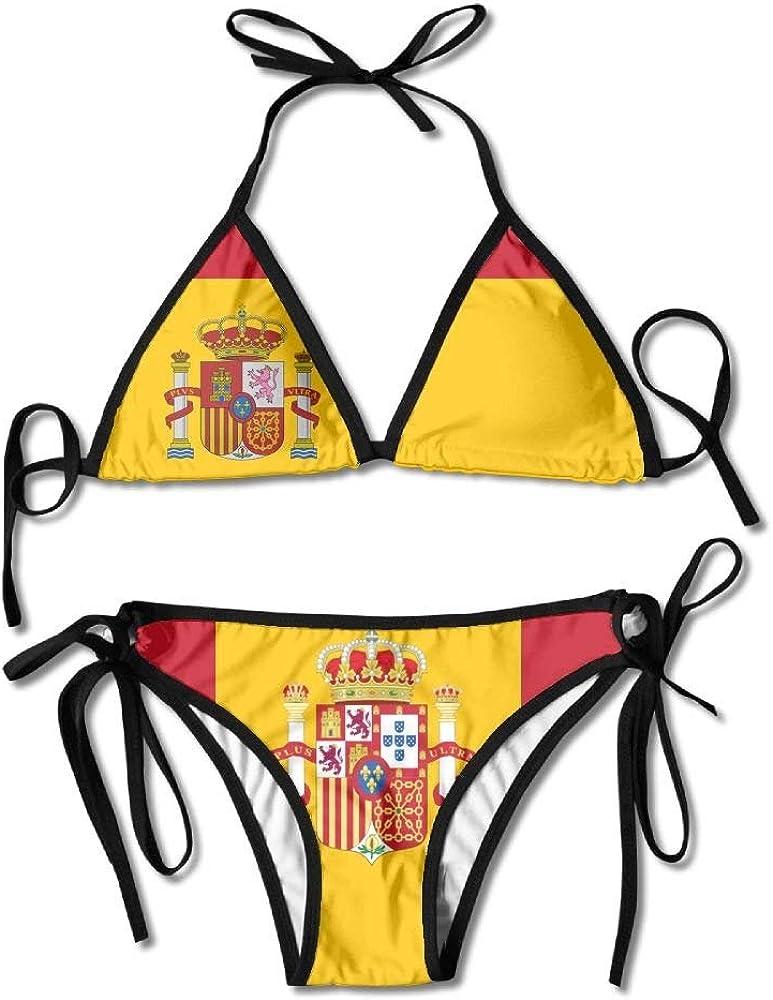 Bikini para Mujer Conjunto de Traje de Baño de Dos Piezas de Verano con Bandera Española con Trajes de Baño de Cabestro con Vendaje: Amazon.es: Ropa y accesorios
