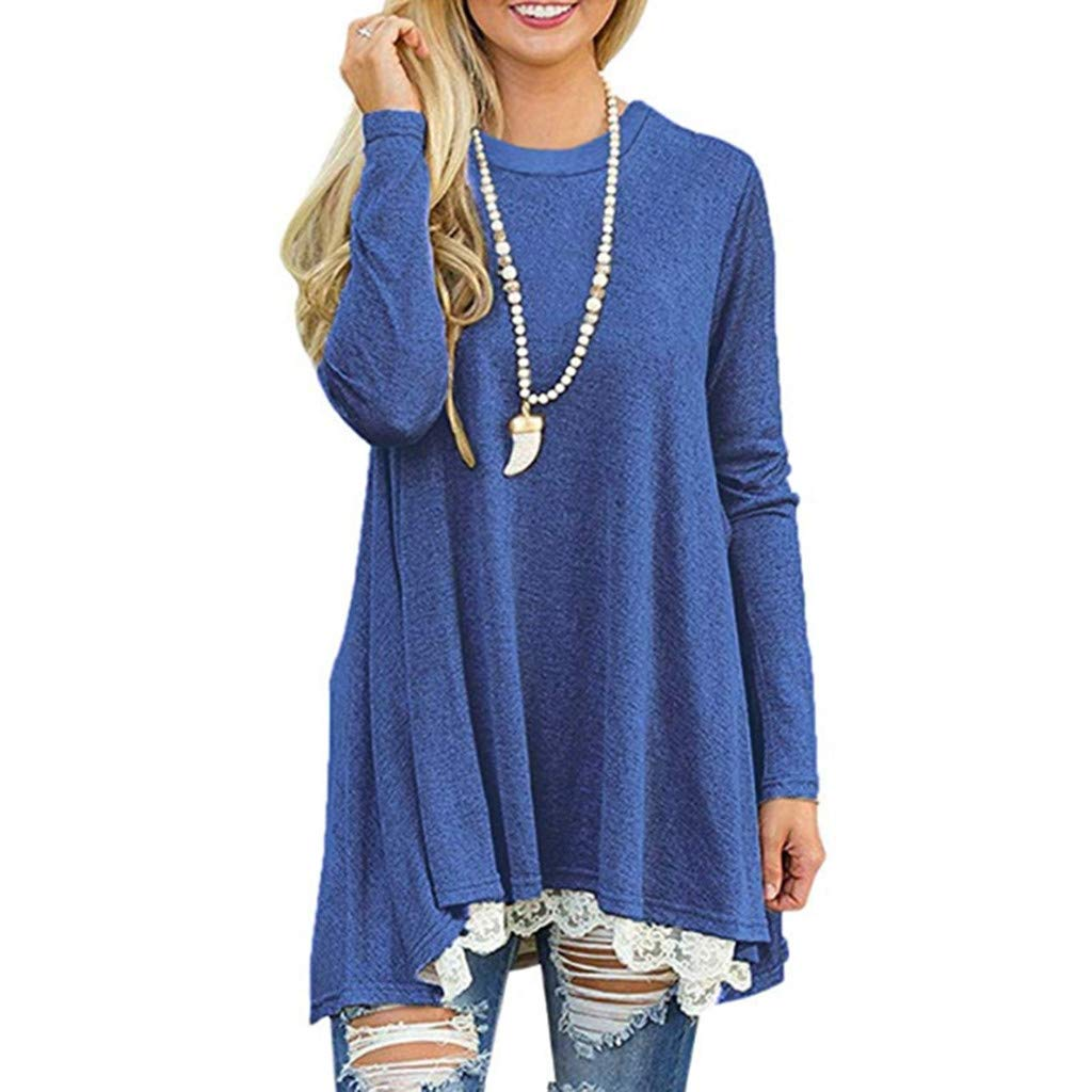 Lelili Women Comfy Waffle Tops Solid Color Round Neck Long Sleeve Loose Pullover Lace Hem Casaul Blouse