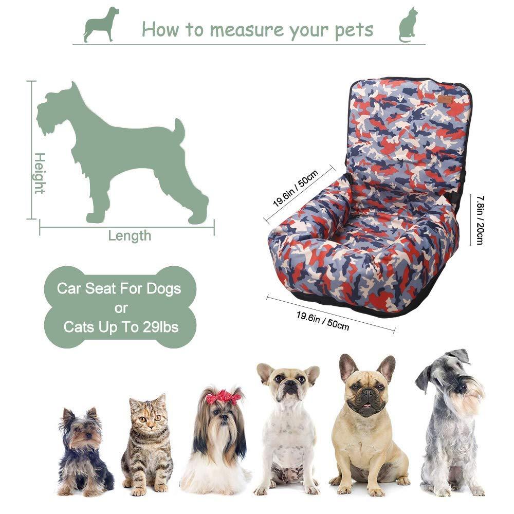Asiento de Coche para Perro Lavable Asiento de Seguridad para Coche para Mascotas BO/&CHAO Asiento de Coche para Perro Cama para Perro con Bolsillo de Almacenamiento para Viajes