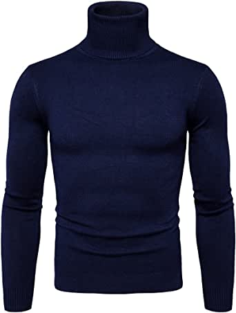 Suéter para Hombre Cuello Alto Jersey de Punto Básico Manga Larga de Color Liso
