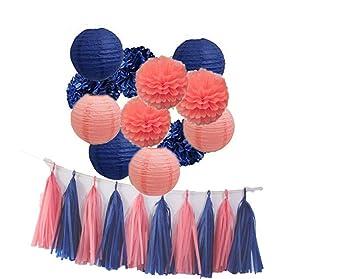 Amazon.com: 14 piezas Coral novia ducha decoraciones Pompón ...