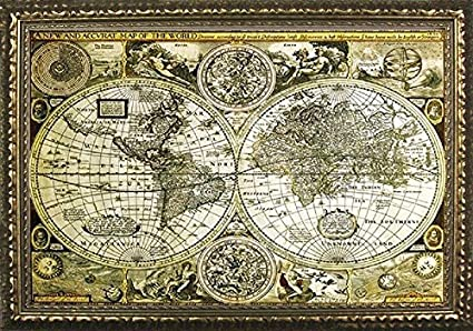 Amazon framed historical world map antique globes 1626 36x24 framed historical world map antique globes 1626 36x24 art print poster vintage style gold bronze gumiabroncs Choice Image