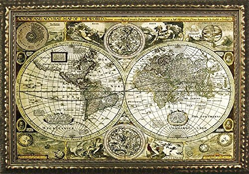 (Buyartforless Framed Historical World Map Antique Globes 1626 36x24 Art Print Poster Vintage Style Gold-Bronze Frame)