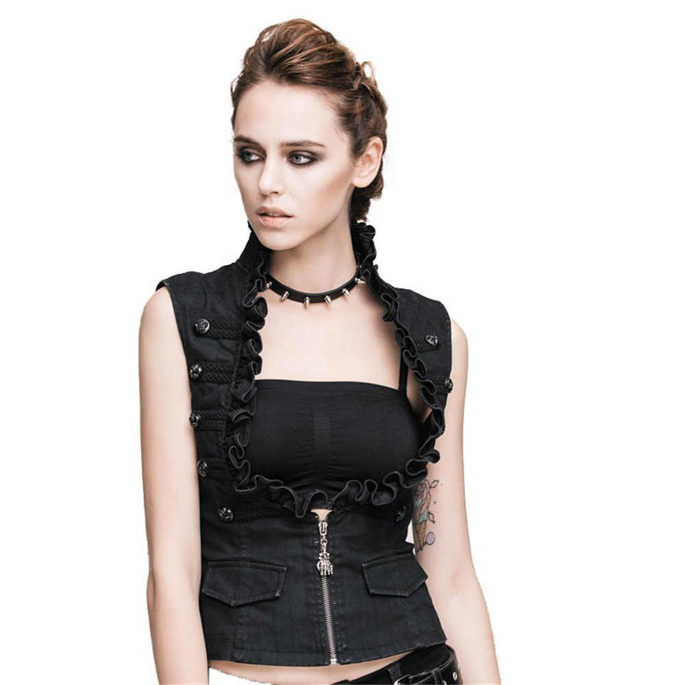 Devil Fashion Punk Women's Cotton Vest Black Dark Stripes Thoracotomy Waistcoat T-6