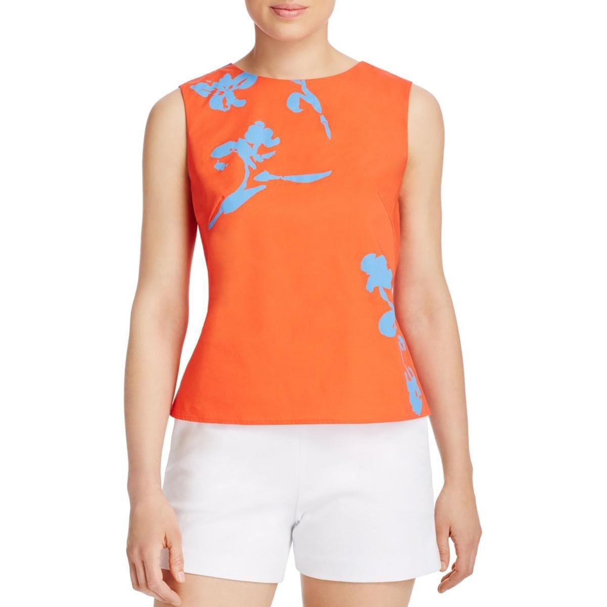 Tory Burch Womens Cotton Blend Printed Shell Orange 6