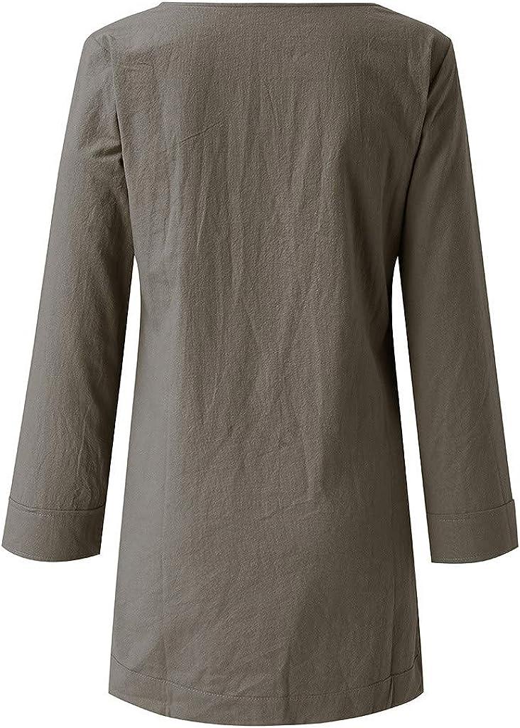 Side Slit Retro Tunict Shirts Long Blouses EINCcm Womens Cotton Linen Blouse Boat Neck Tunic Tops 3//4 Sleeve Shirt Clothing