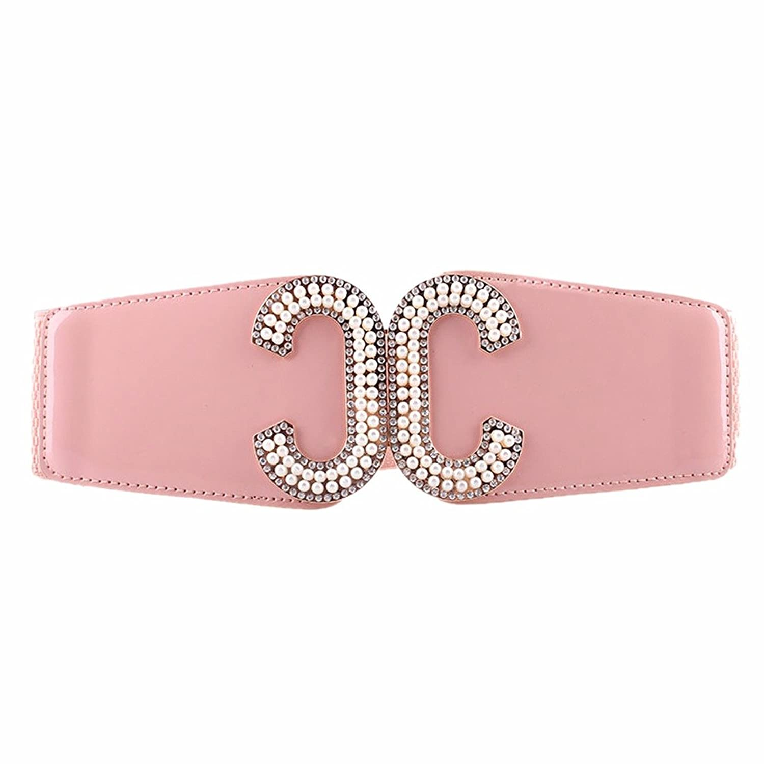Elastic Palace Waist Belt Girdle Korea Girl New Double C Buckle Pearl Waistband