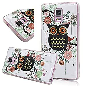Seedan Rubberized Flower Black Owl Painting Samsung Galaxy S6 Gel Soft Flexible Back Cover Skin Silicone TPU Protective Shell