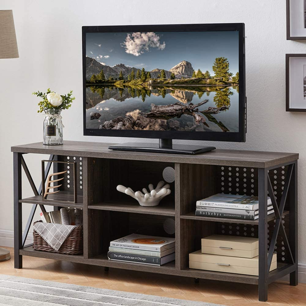 IBF TV Stand for TVs up to 65 Inch, Mid Century Modern Entertainment Center with Storage Shelves, Industrial Wood and Metal Media TV Console for Bedroom Living Room, Grey Oak, 55 Inch