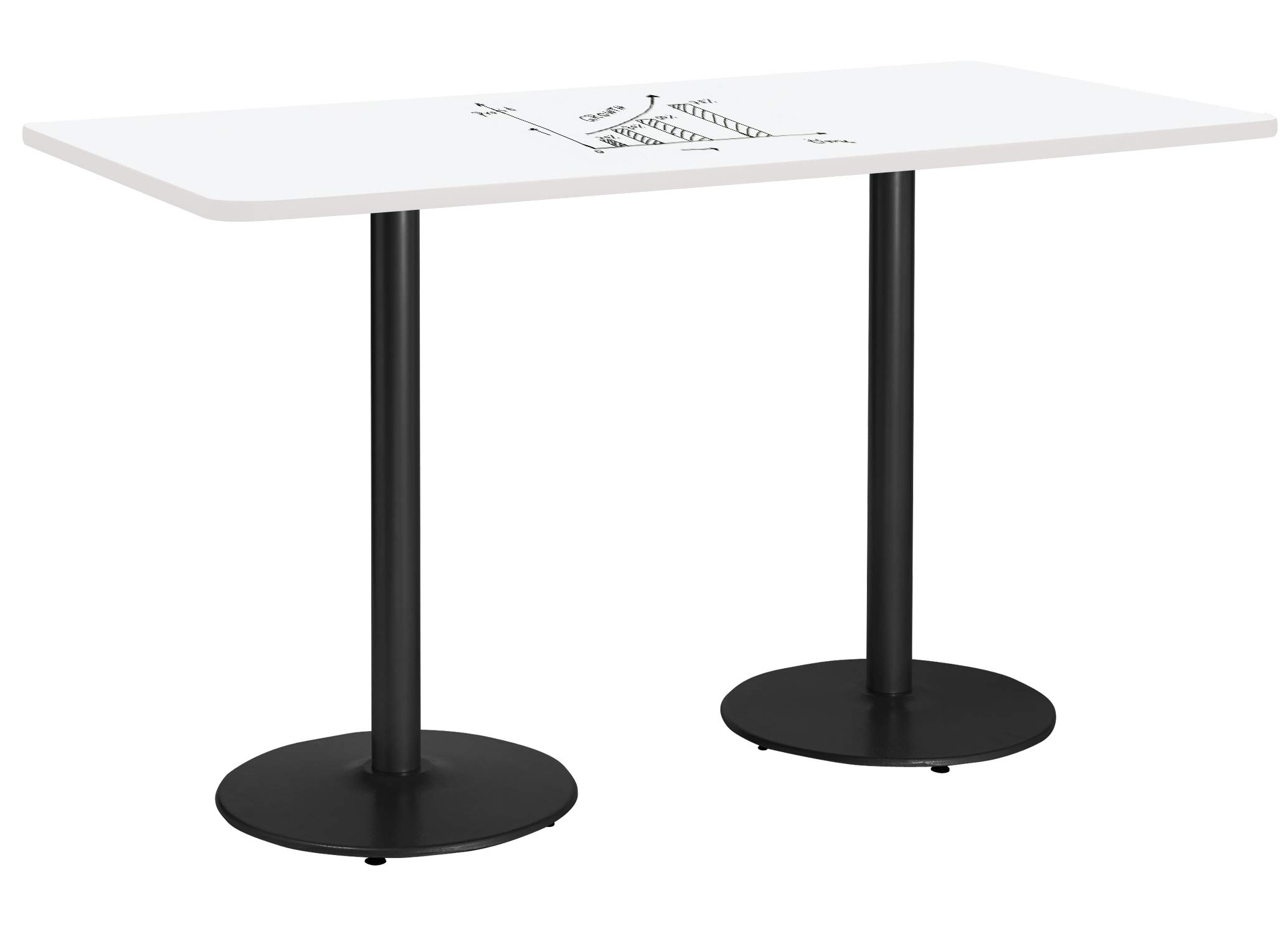 KFI Whiteboard Pedestal Table, 36'' W x 42'' D x 72''H, White by KFI
