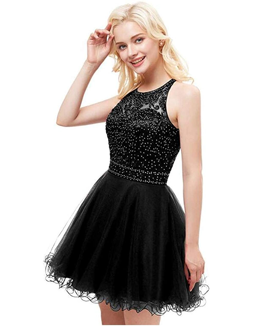 Black Yiweir Women's Tulle Pearls Homecoming Dresses 2018 Short Formal Prom Gown H1111