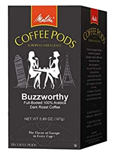 Melitta Coffee Pods, Buzzworthy Coffee, Dark Roast, Single Cup, 18 Count