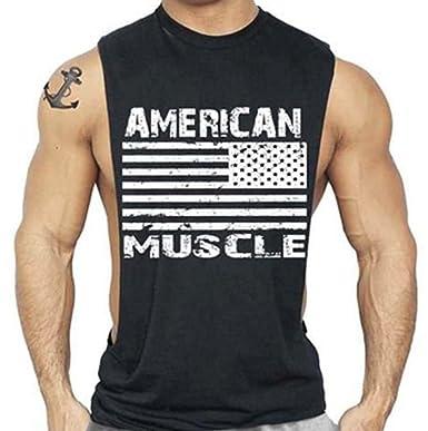 3157c8475cc57 Amazon.com  American Muscle Workout T-Shirt Bodybuilding Tank Top Black  S-3XL  Clothing