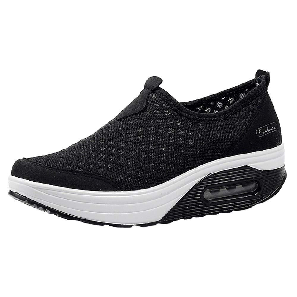 Rmeioel Women Outdoor Mesh Casual Solid Color Sports Shoes Thick-Soled Air Cushion Slip-Ons Breathable Shoes Sneakers Black by Rmeioel