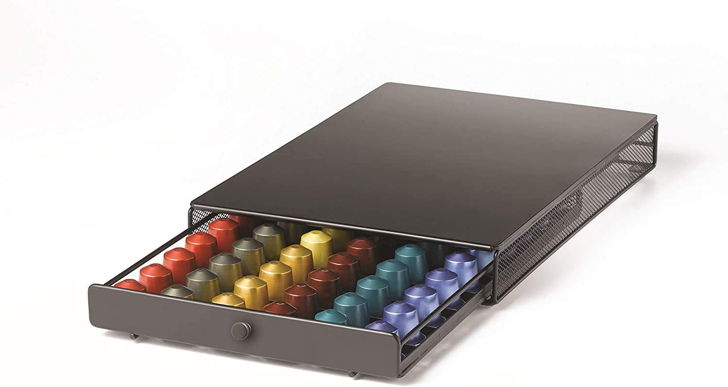Nifty Large Nespresso Capsule Drawer – Black, 60 Capsule Pod Pack Holder, Non-Rolling Sliding Drawer, Under Coffee Pot Storage, Home Kitchen Counter Organizer