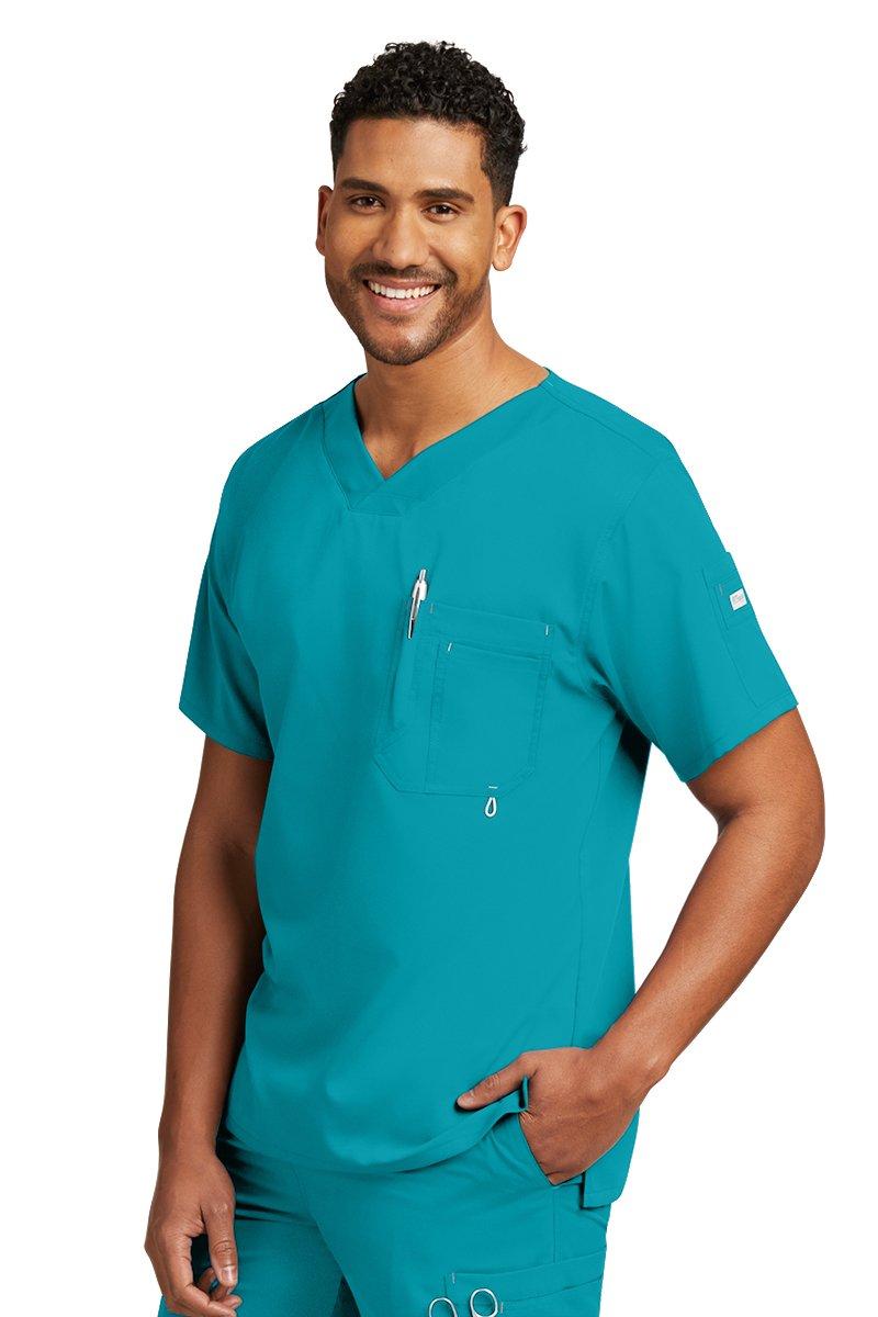 Grey's Anatomy Men's Modern Fit V-Neck Scrub Top, Teal, X-Large