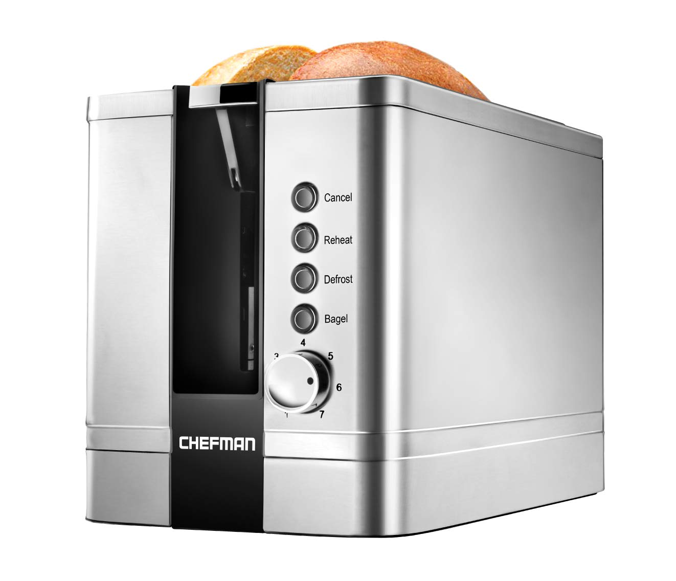 Chefman 2-Slice Pop-Up Stainless Steel Toaster w/ 7 Shade Settings Extra Wide Slots for Toasting Bagels, Defrost/Reheat/Cancel Functions, Removable Crumb Tray, 850W, 120V, Silver